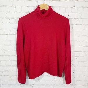 Eileen Fisher Red Merino Wool Turtleneck Sweater